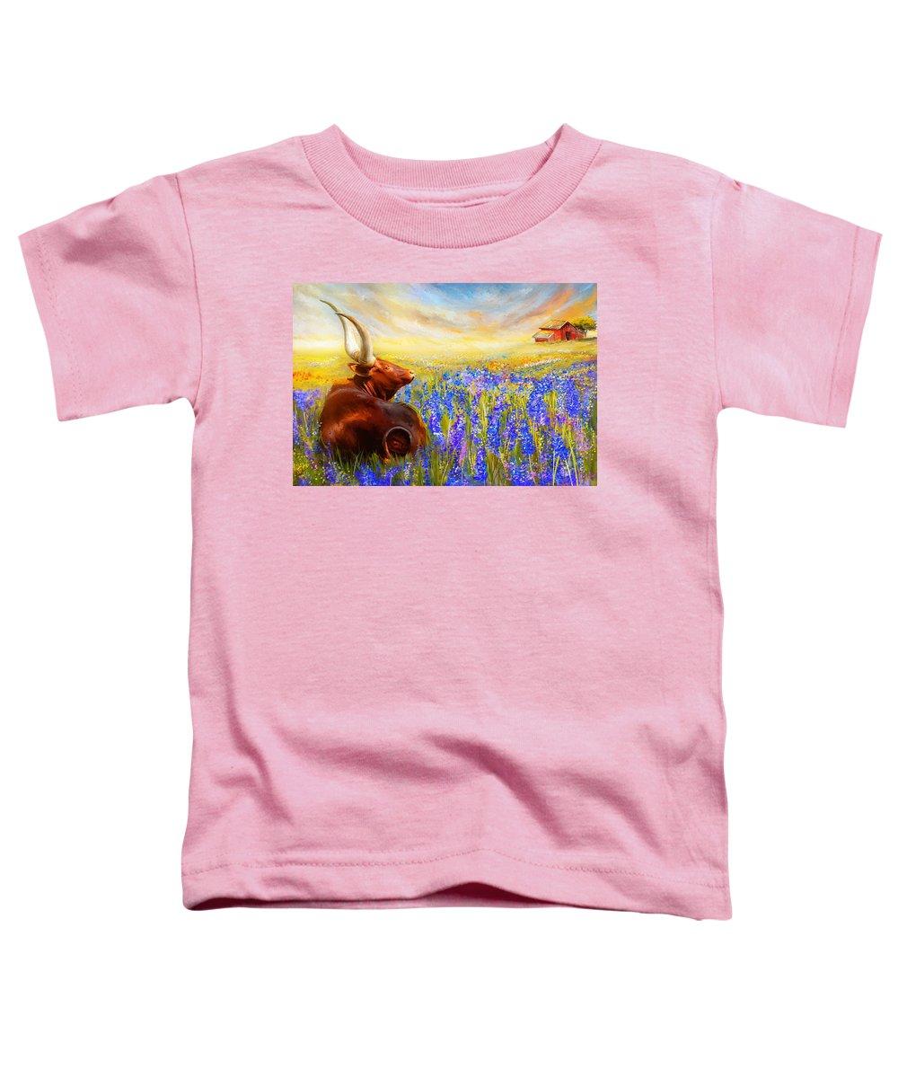 Texas Longhorn Toddler T-Shirt featuring the painting Bluebonnet Dream - Bluebonnet Paintings by Lourry Legarde