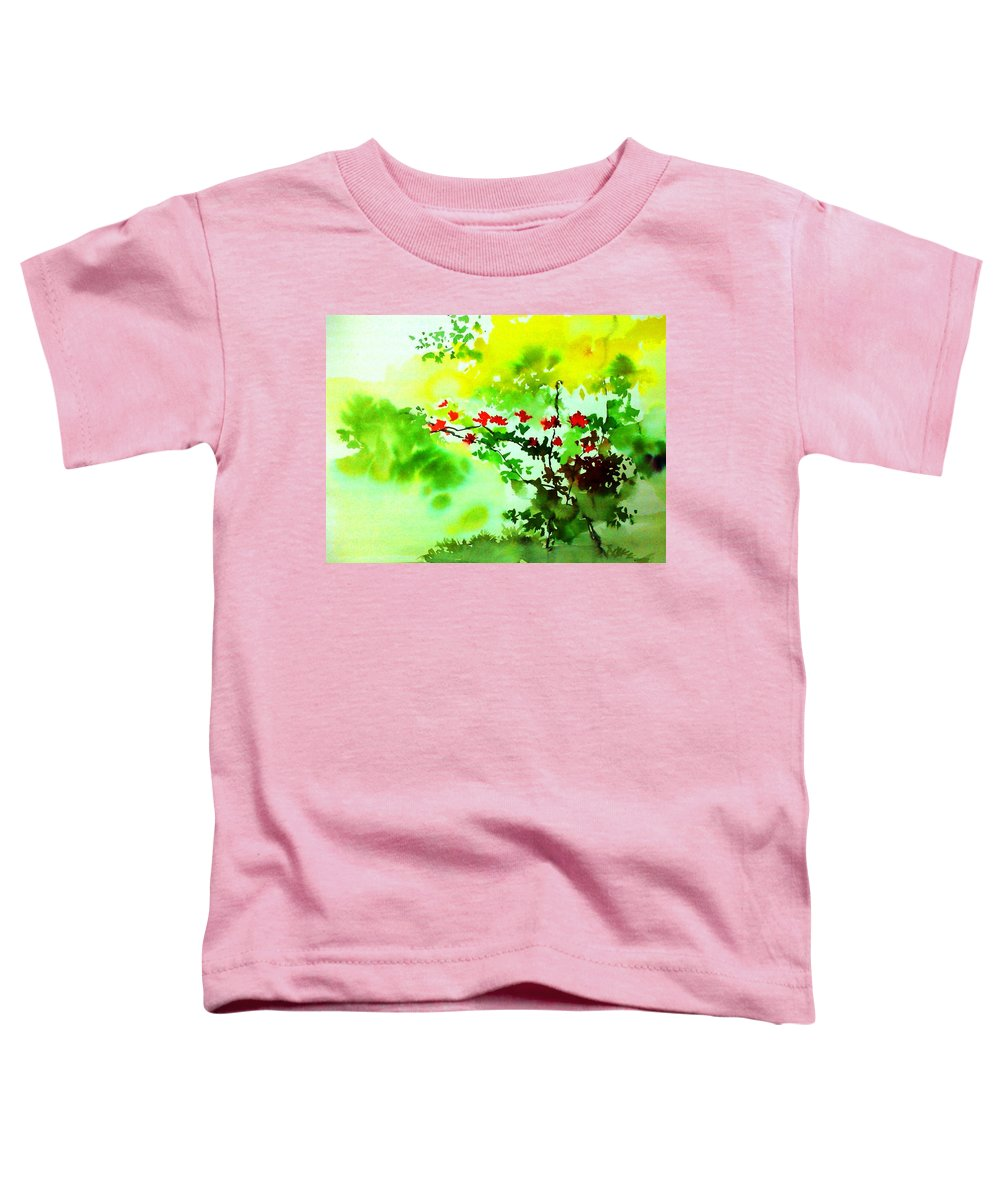 Floral Toddler T-Shirt featuring the painting Boganwel by Anil Nene