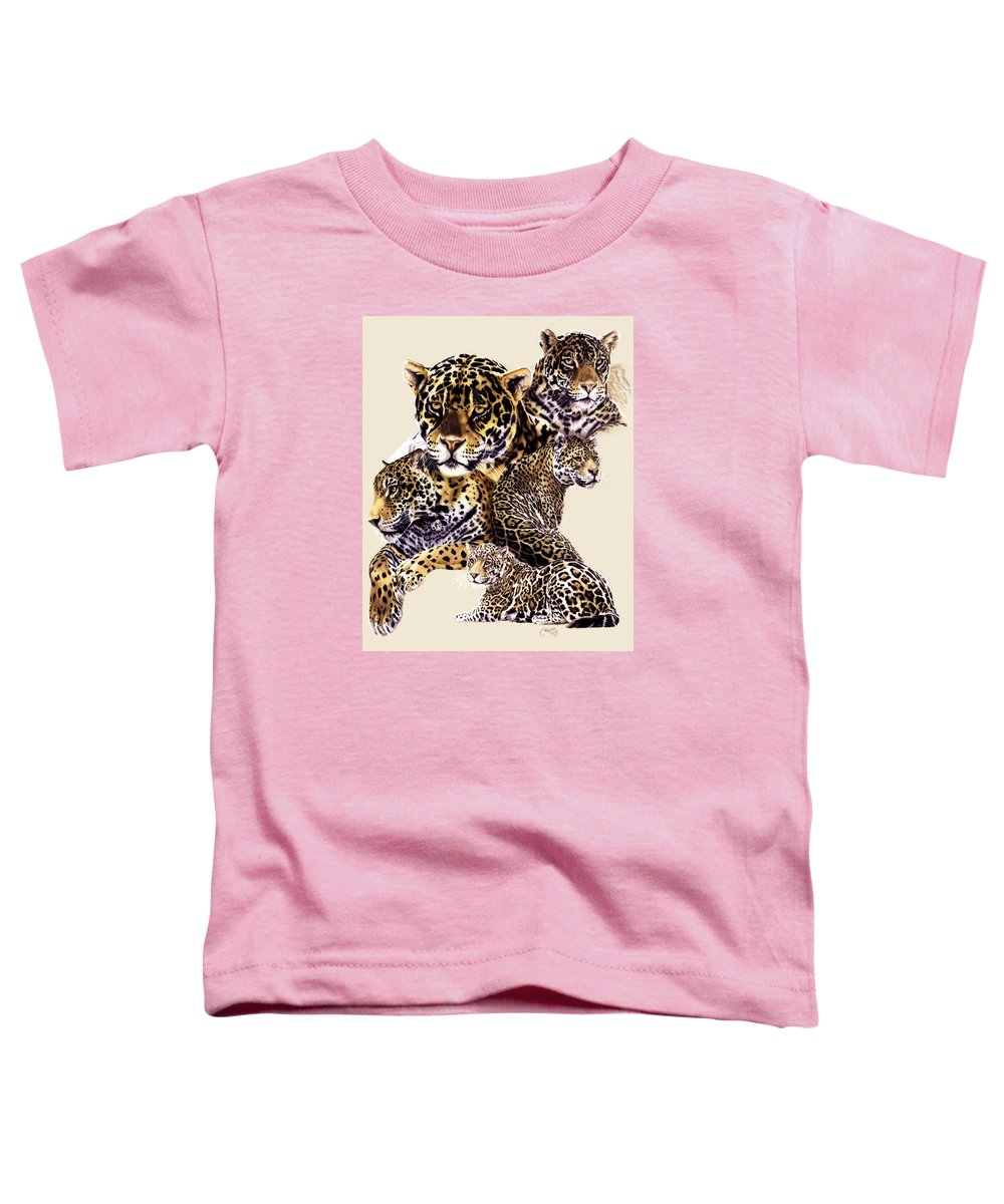 Jaguar Toddler T-Shirt featuring the drawing Burn by Barbara Keith
