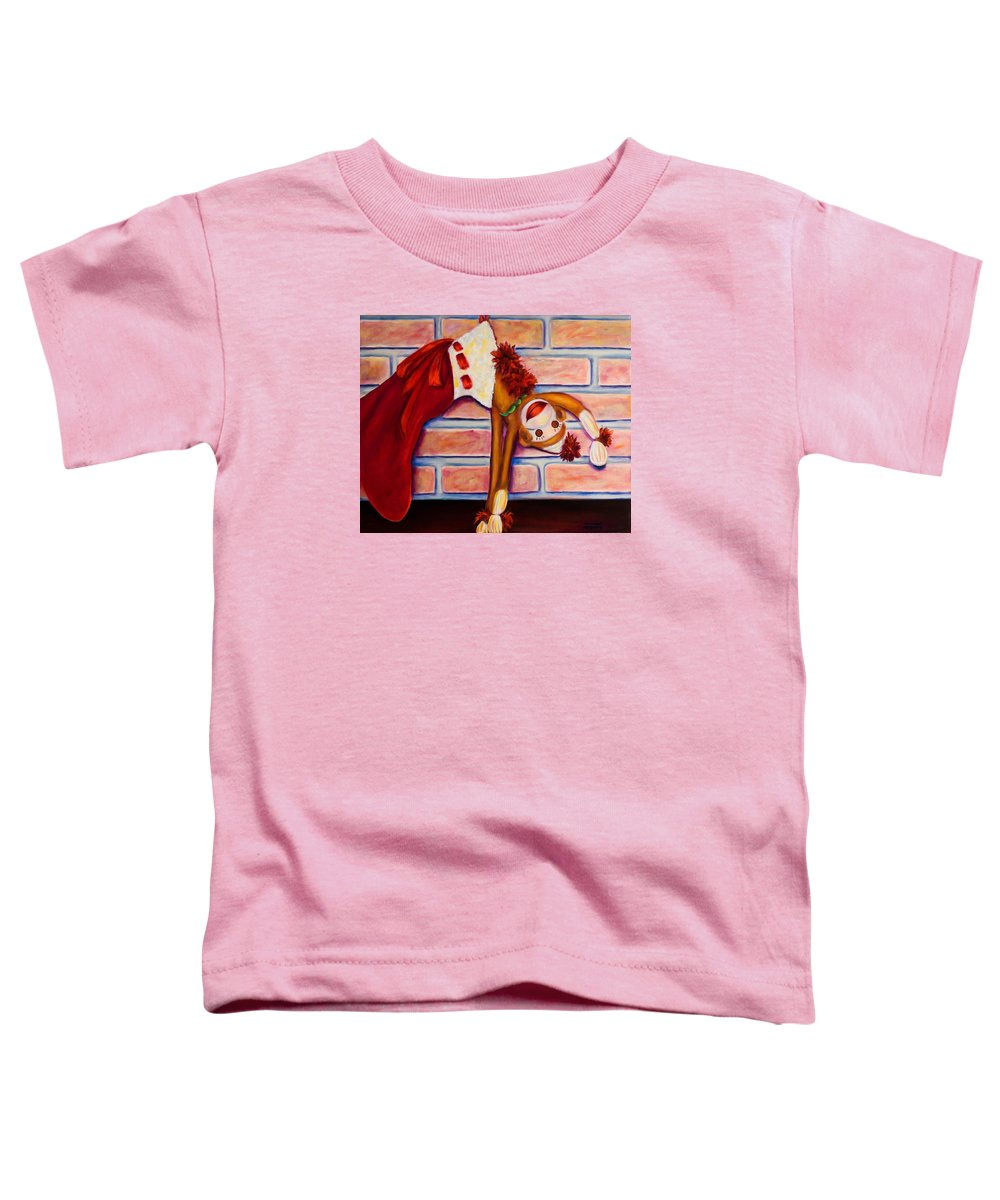 Sock Monkey Toddler T-Shirt featuring the painting Christmas With Care by Shannon Grissom