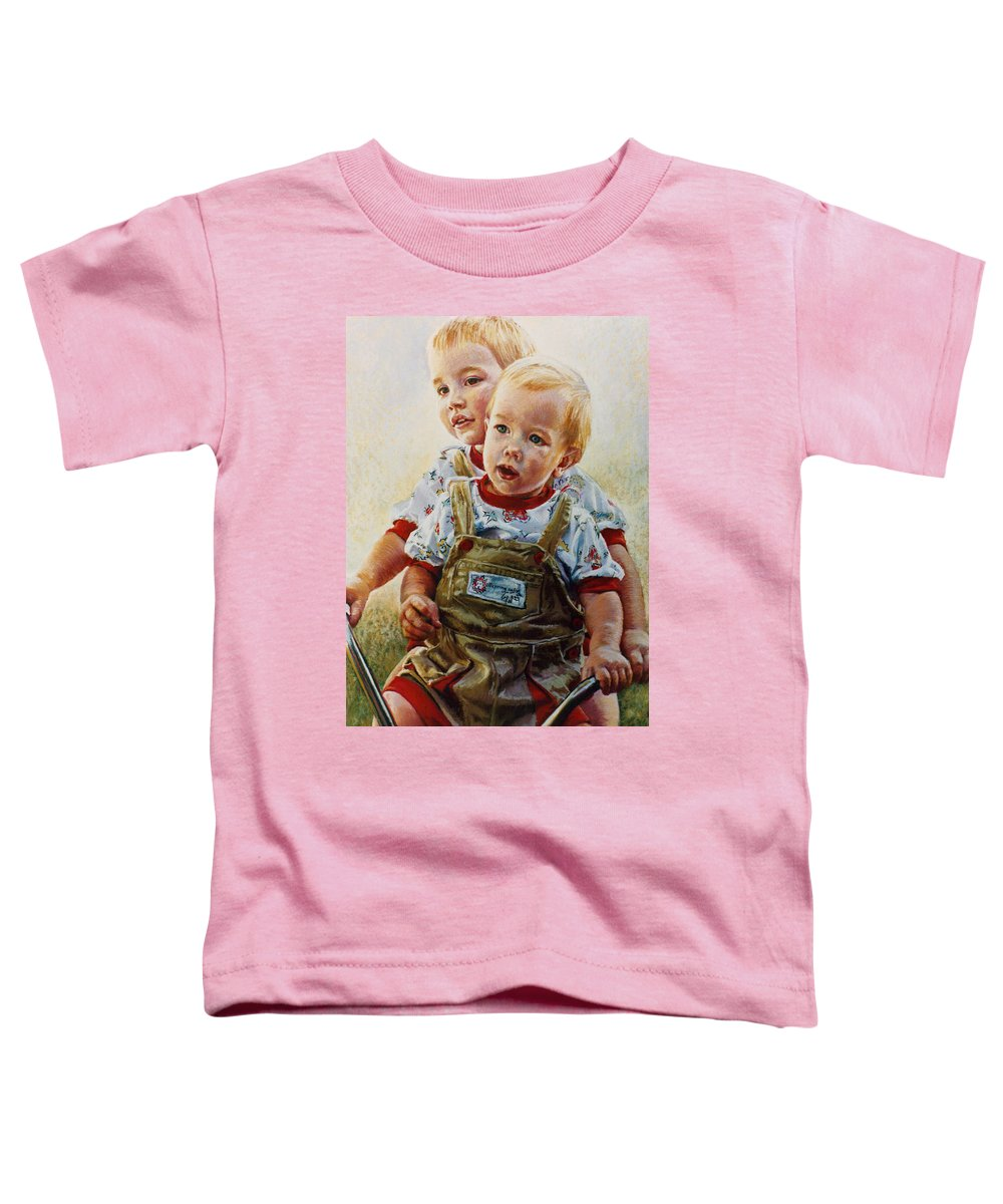 Pastel Portrait Toddler T-Shirt featuring the pastel Cousins by Jean Hildebrant