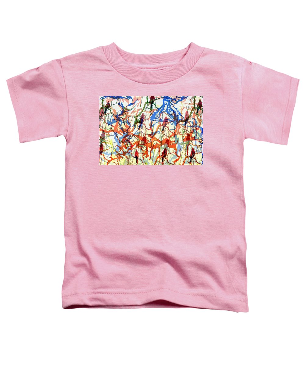 Birds Toddler T-Shirt featuring the digital art Crazy Cardinals by Shelley Jones