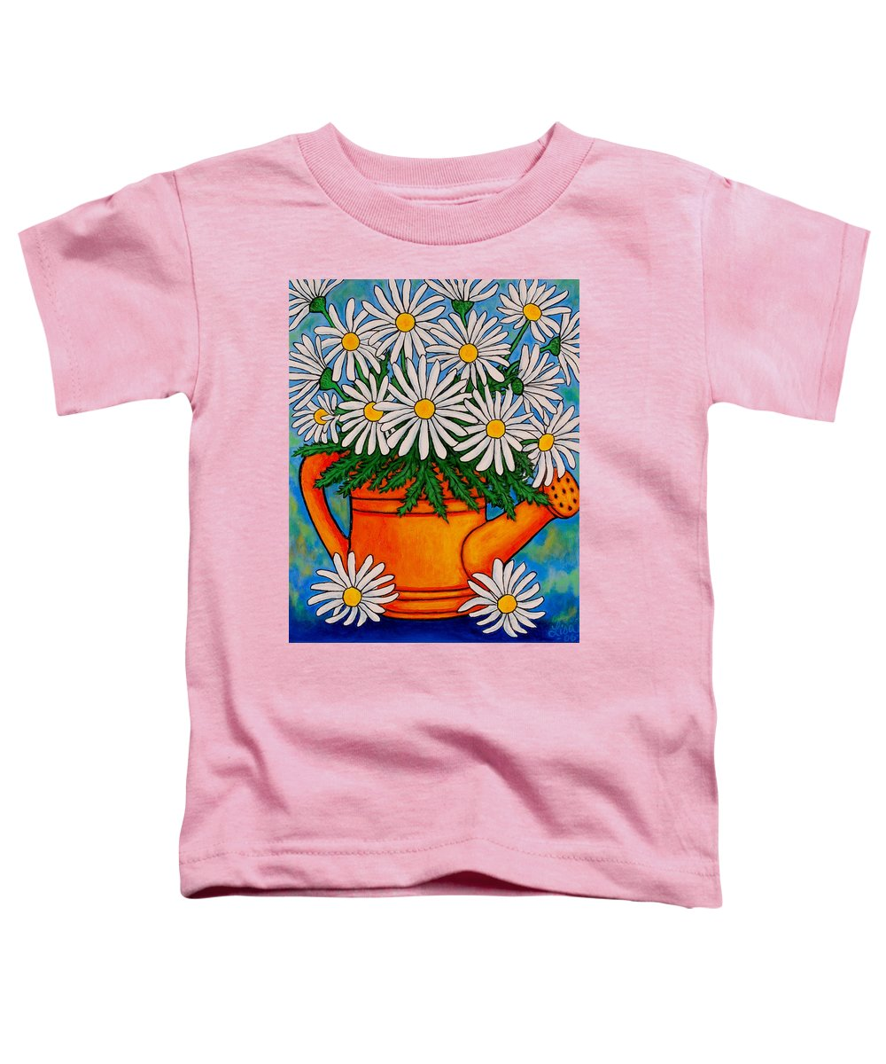 Daisies Toddler T-Shirt featuring the painting Crazy For Daisies by Lisa Lorenz