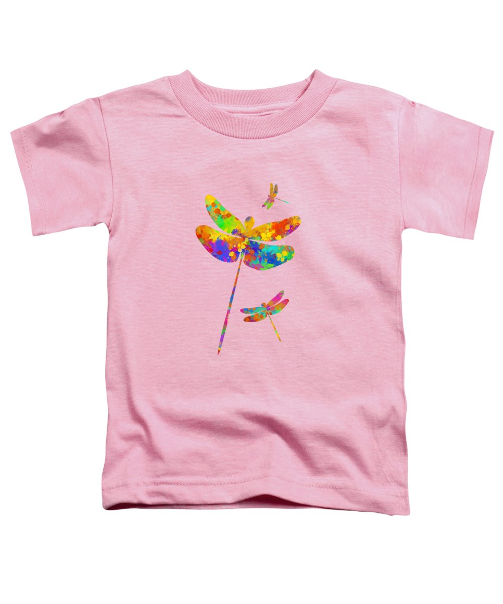 Dragonfly Watercolor Toddler T-Shirt featuring the mixed media Dragonfly Watercolor Art by Christina Rollo