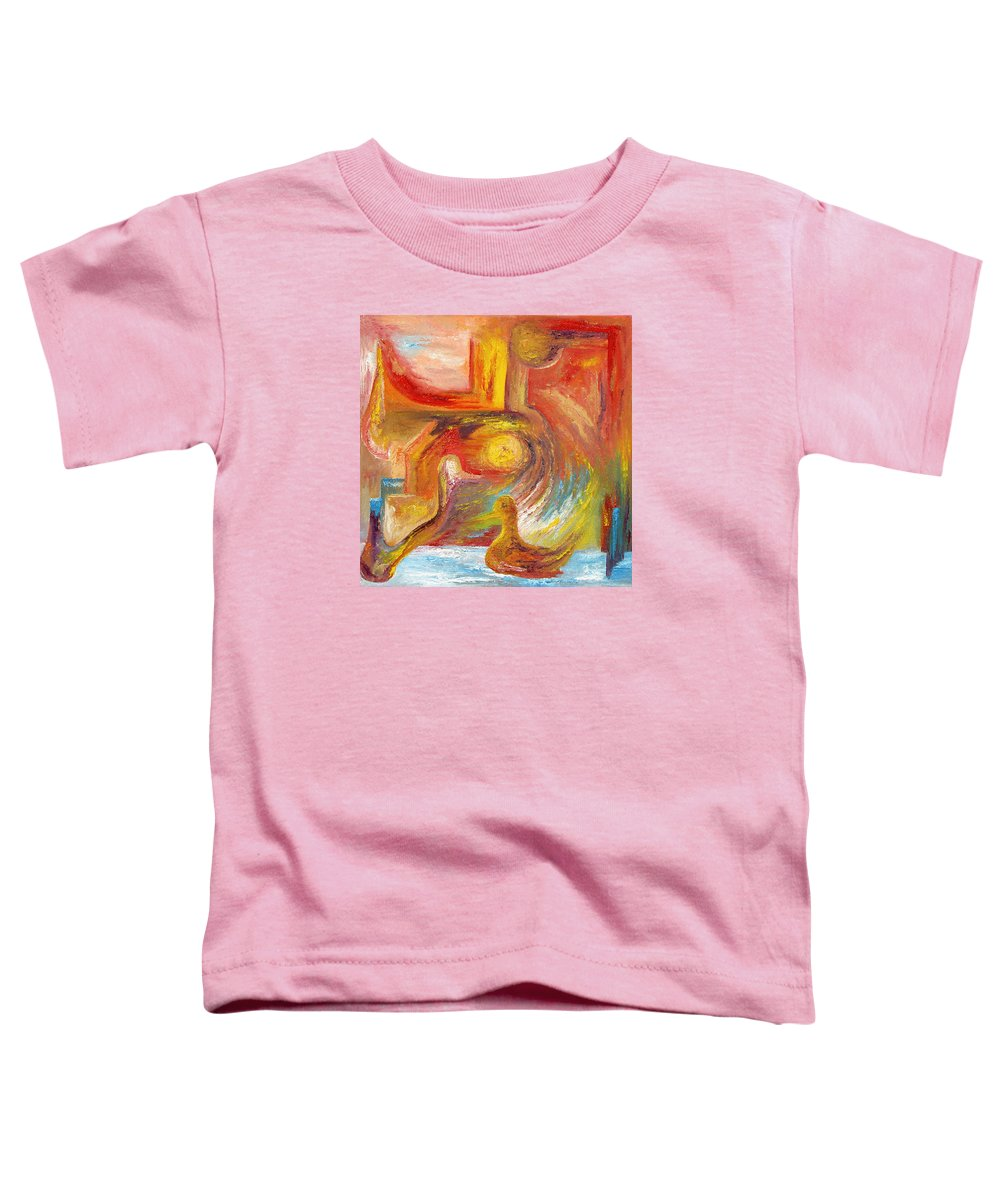 Duck Toddler T-Shirt featuring the painting Duck The Alchemist by Karina Ishkhanova