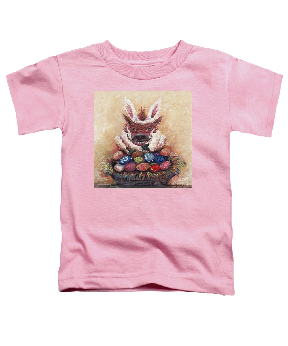 Easter Toddler T-Shirt featuring the painting Easter Hog by Nadine Rippelmeyer