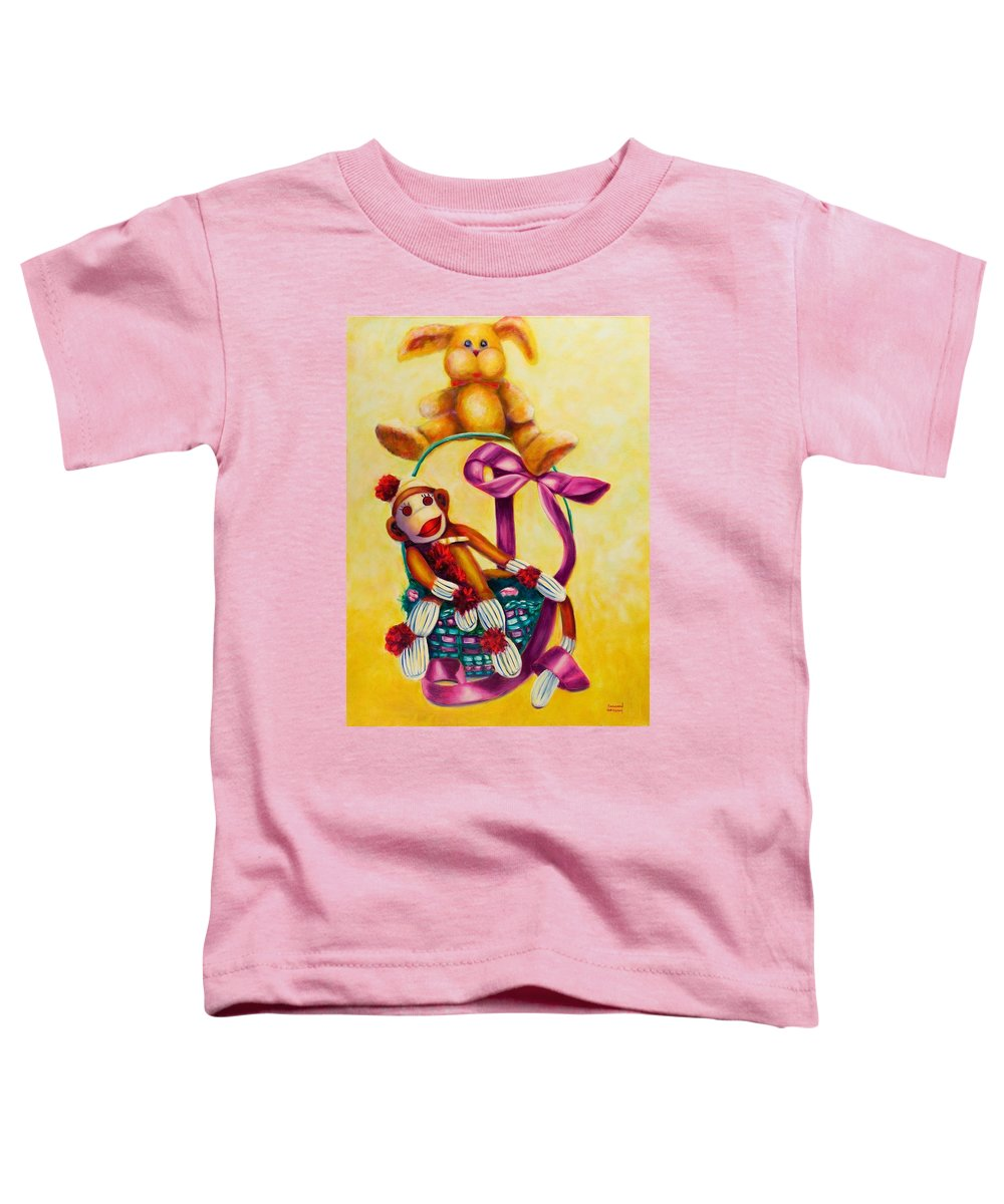 Easter Toddler T-Shirt featuring the painting Easter Made Of Sockies by Shannon Grissom