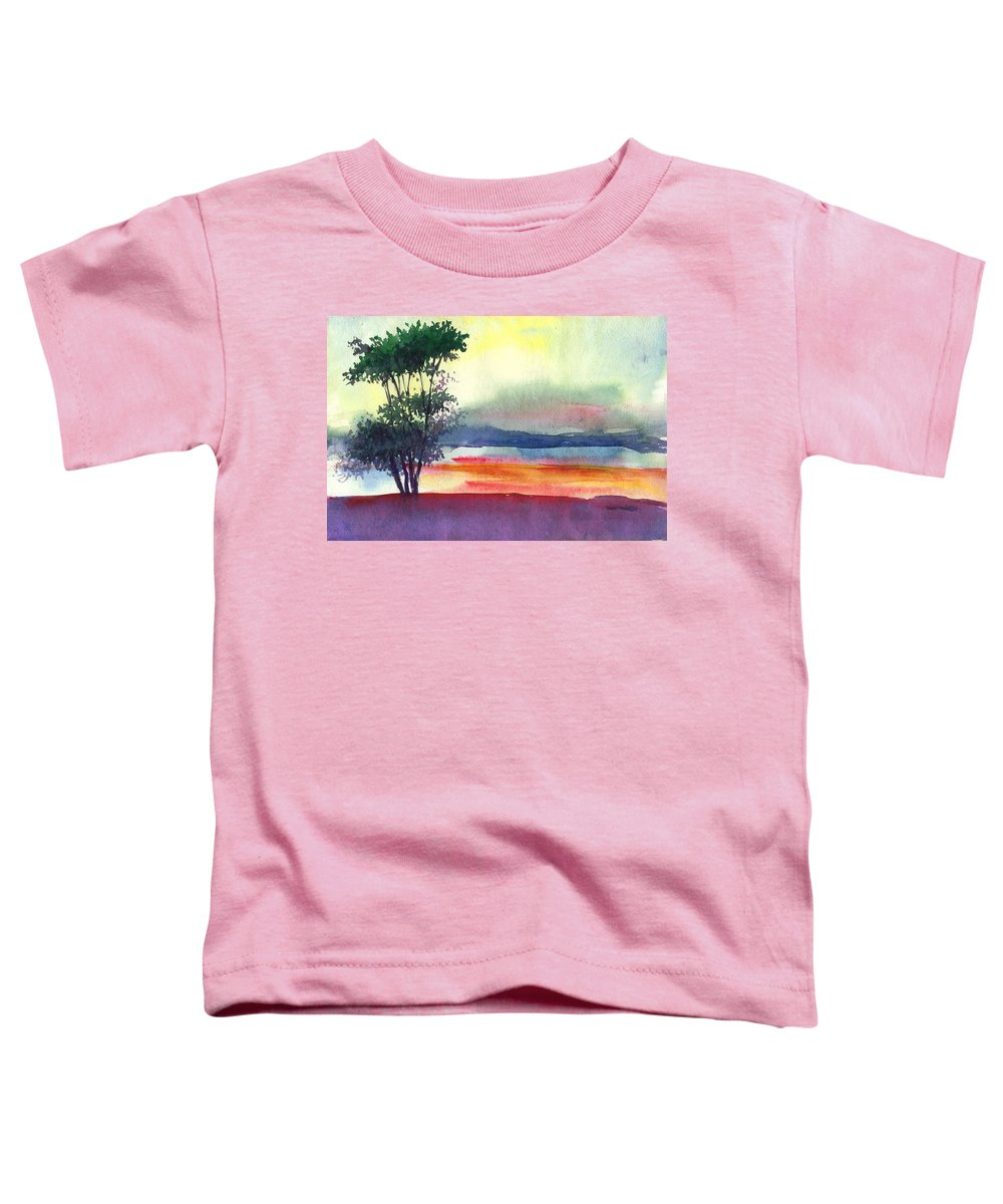 Water Color Toddler T-Shirt featuring the painting Evening Lights by Anil Nene