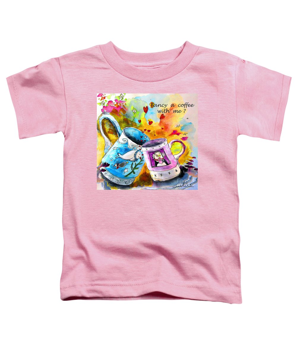 Cafe Crem Toddler T-Shirt featuring the painting Fancy A Coffee by Miki De Goodaboom