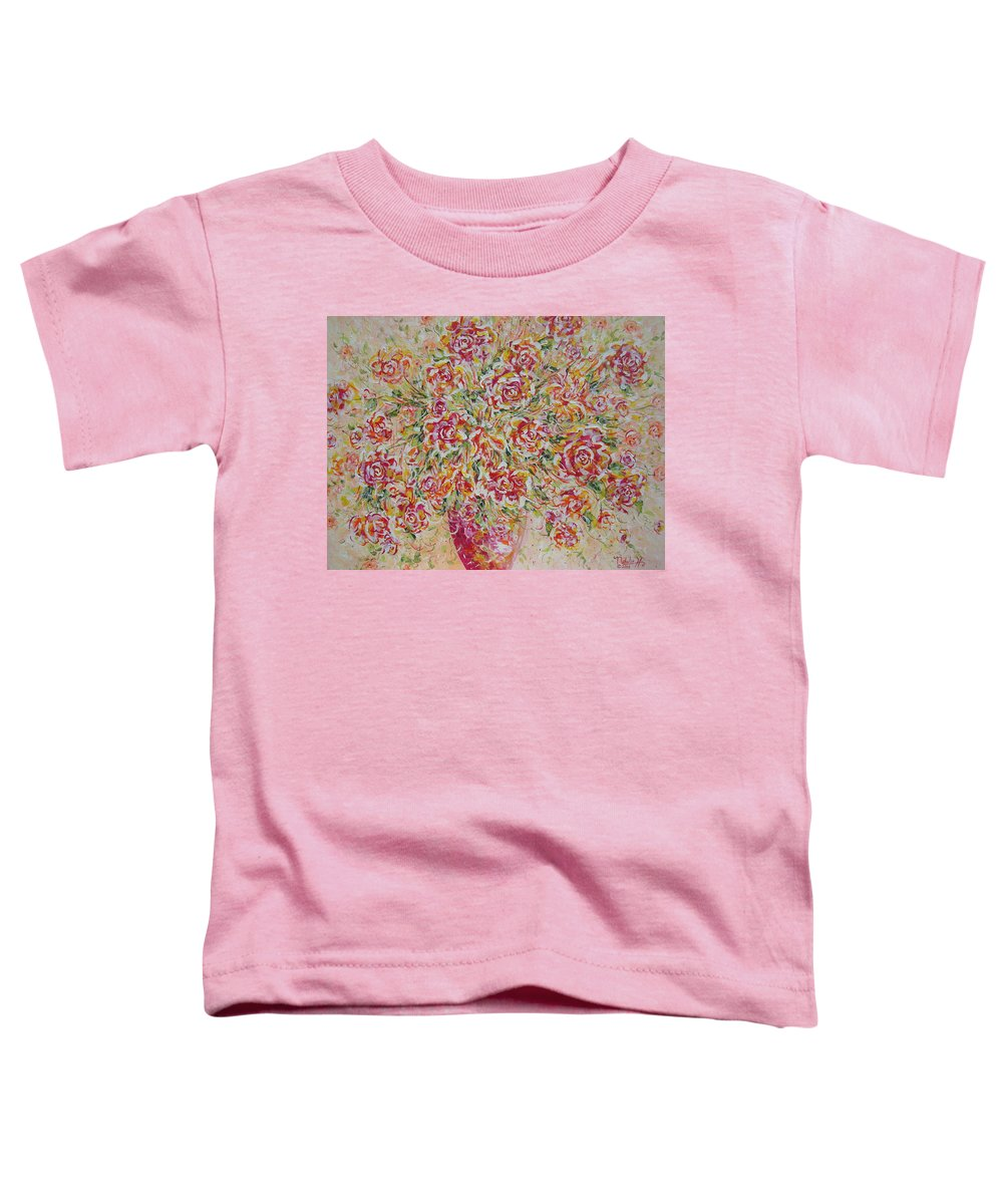 Flowers. Floral Toddler T-Shirt featuring the painting First Love Flowers by Natalie Holland