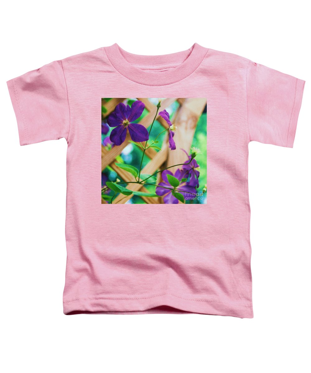 Floral Toddler T-Shirt featuring the painting Flowers Purple by Eric Schiabor