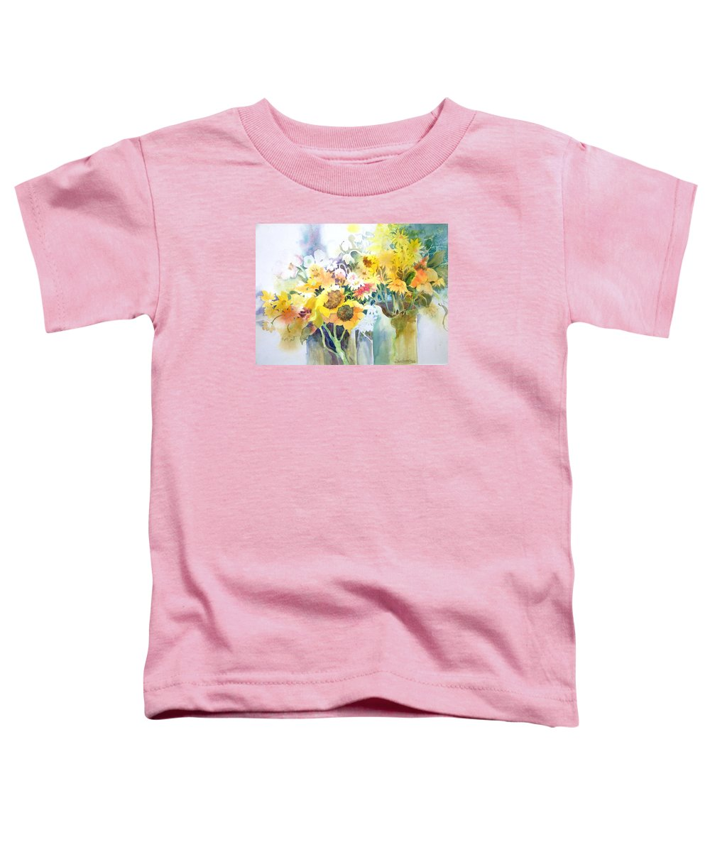 Contemporary;watercolor;sunflowers;daisies;floral; Toddler T-Shirt featuring the painting Fresh-picked by Lois Mountz