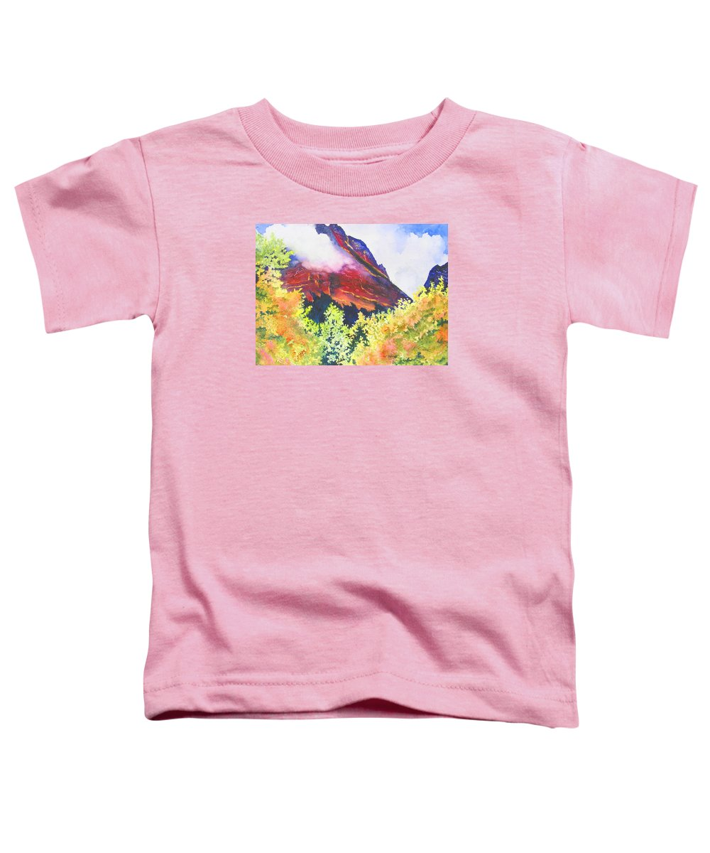 Mountain Toddler T-Shirt featuring the painting Heights Of Glacier Park by Karen Stark