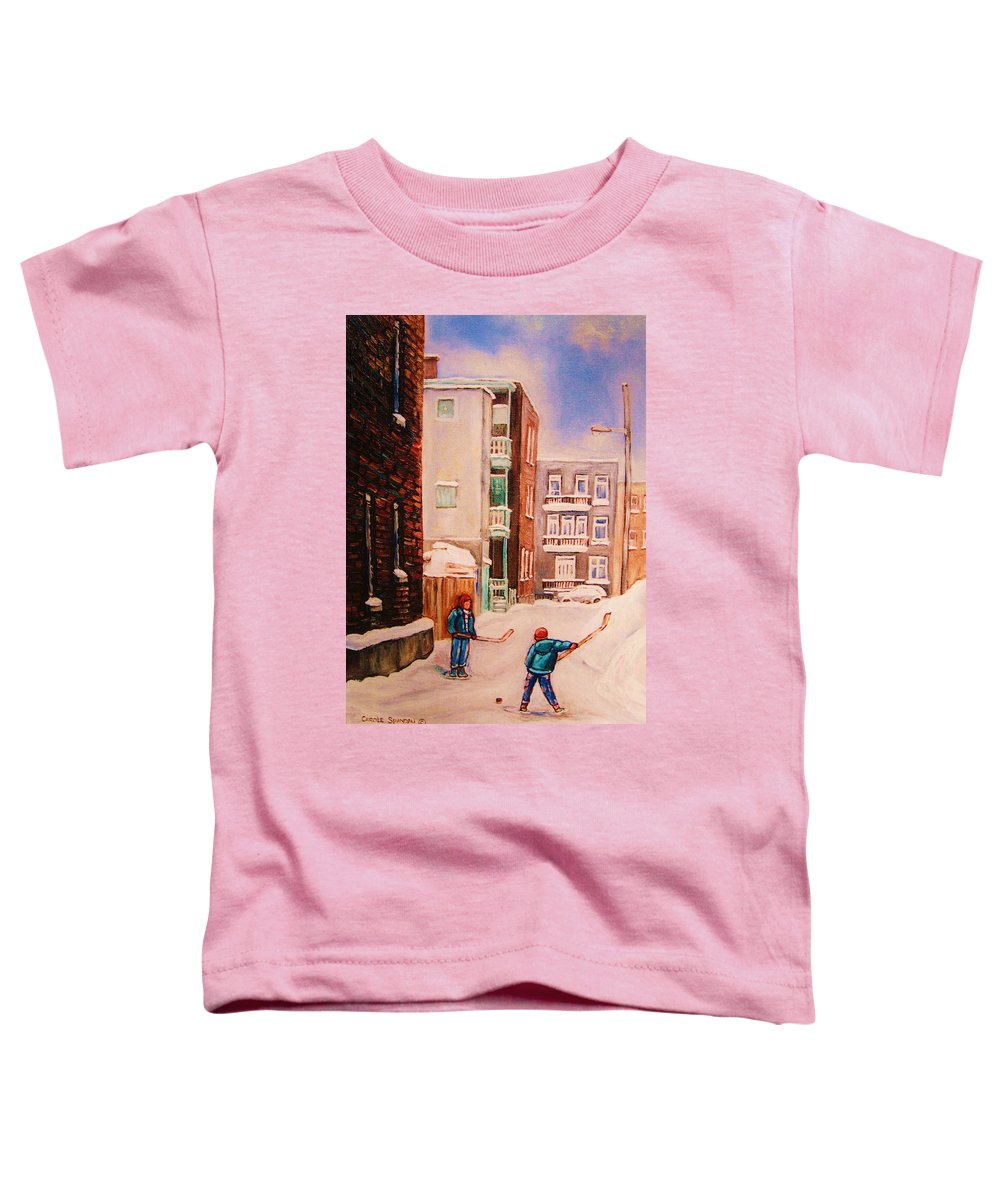 Hockey Toddler T-Shirt featuring the painting Hockey Practice by Carole Spandau