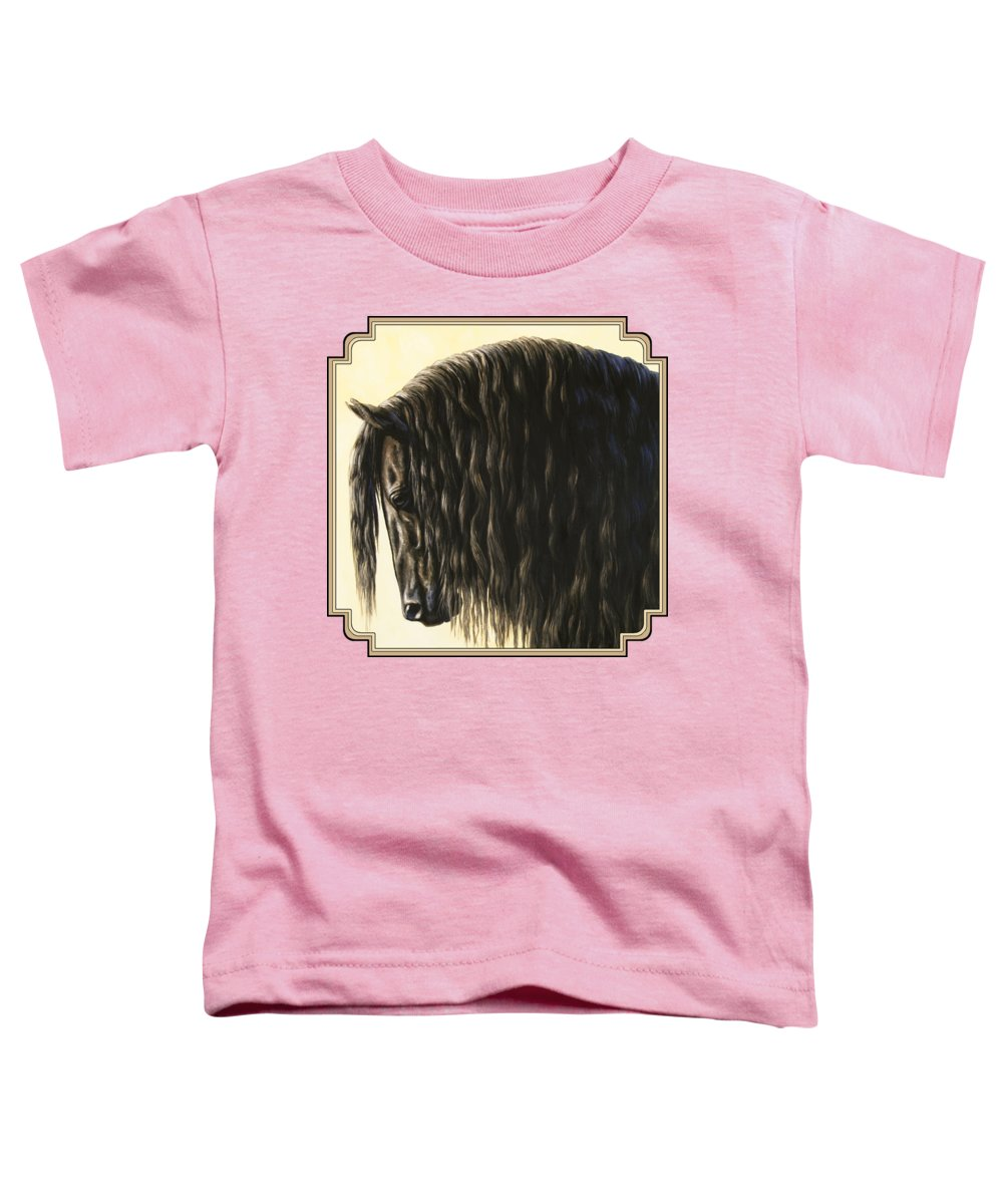 Horse Toddler T-Shirt featuring the painting Horse Painting - Friesland Nobility by Crista Forest