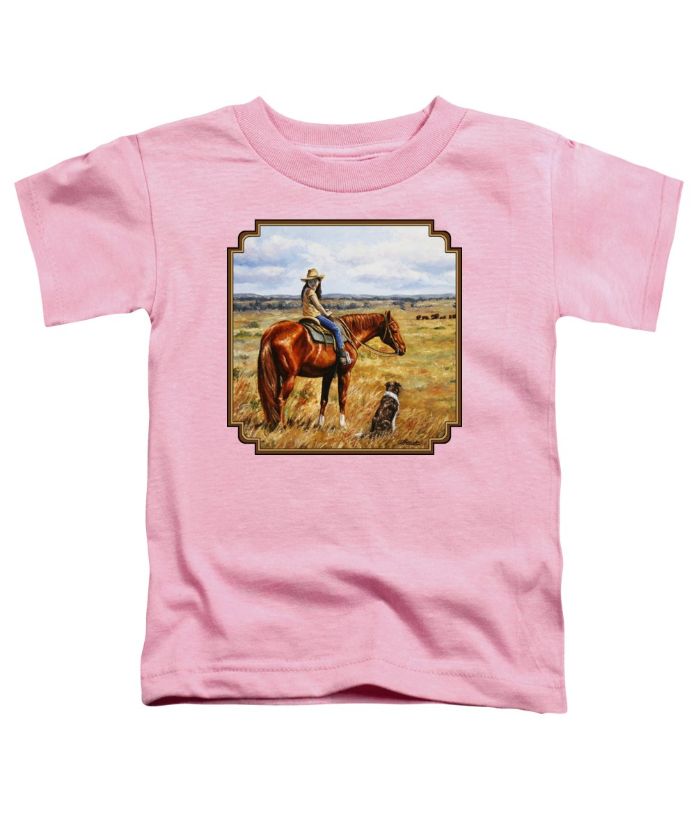 Western Toddler T-Shirt featuring the painting Horse Painting - Waiting For Dad by Crista Forest