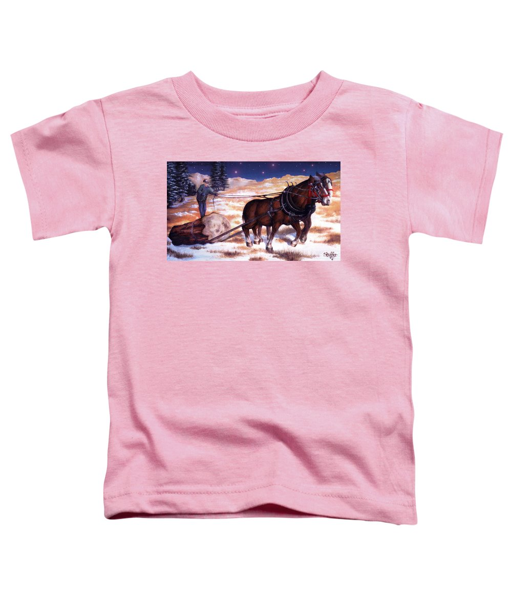 Horse Toddler T-Shirt featuring the painting Horses Pulling Log by Curtiss Shaffer