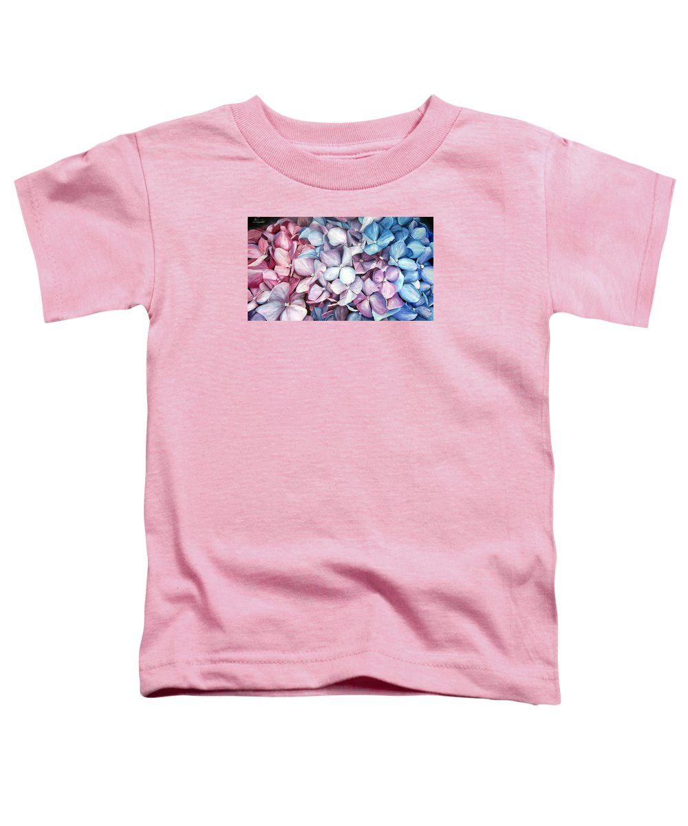 Flowers Nature Blue Violet Macro Toddler T-Shirt featuring the painting Hortensias by Natalia Tejera
