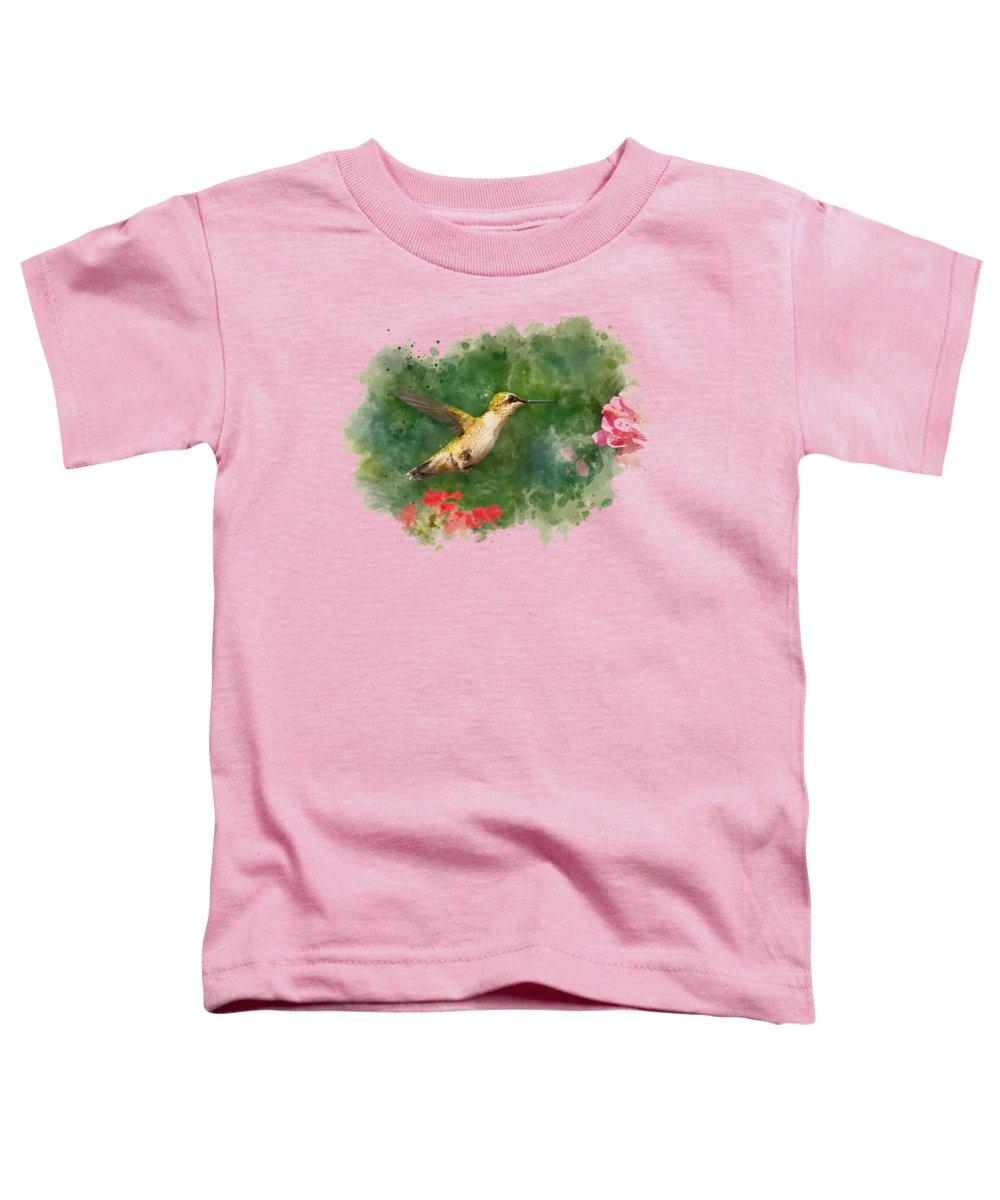 Hummingbird Toddler T-Shirt featuring the mixed media Hummingbird - Watercolor Art by Christina Rollo