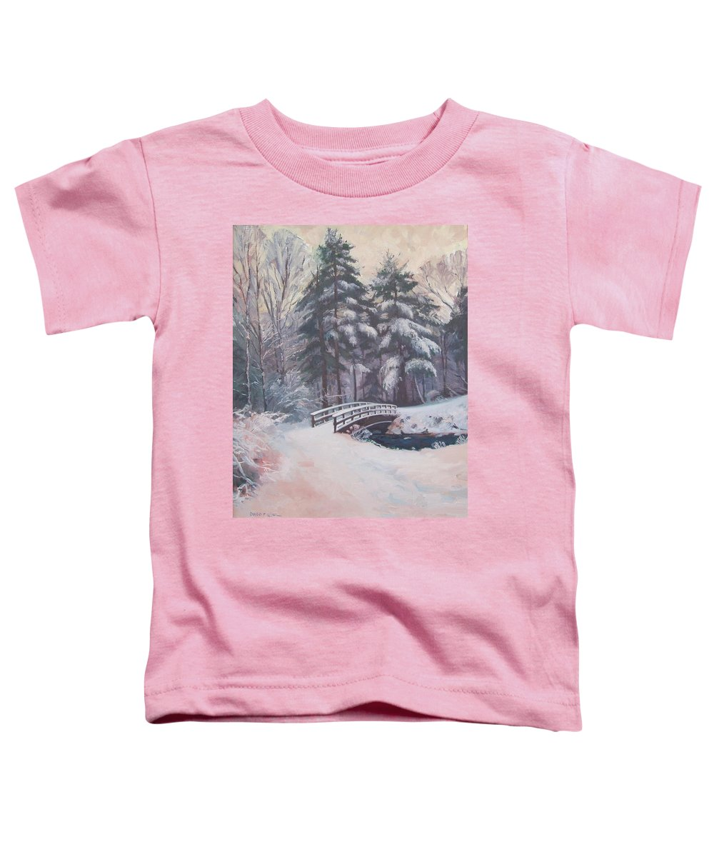 Landscape Toddler T-Shirt featuring the painting Icy Stream by Dianne Panarelli Miller