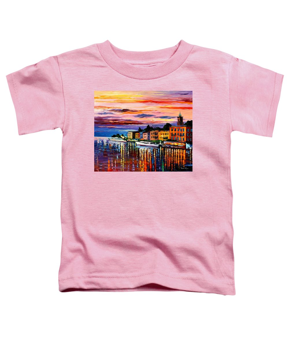 Cityscape Toddler T-Shirt featuring the painting Lake Como - Bellagio by Leonid Afremov
