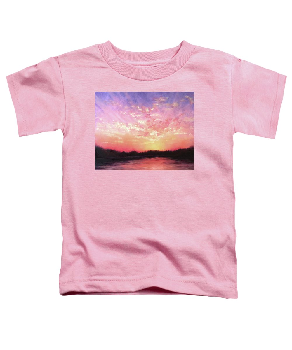 Landscape Toddler T-Shirt featuring the painting Lake Sunset by Teri Rosario