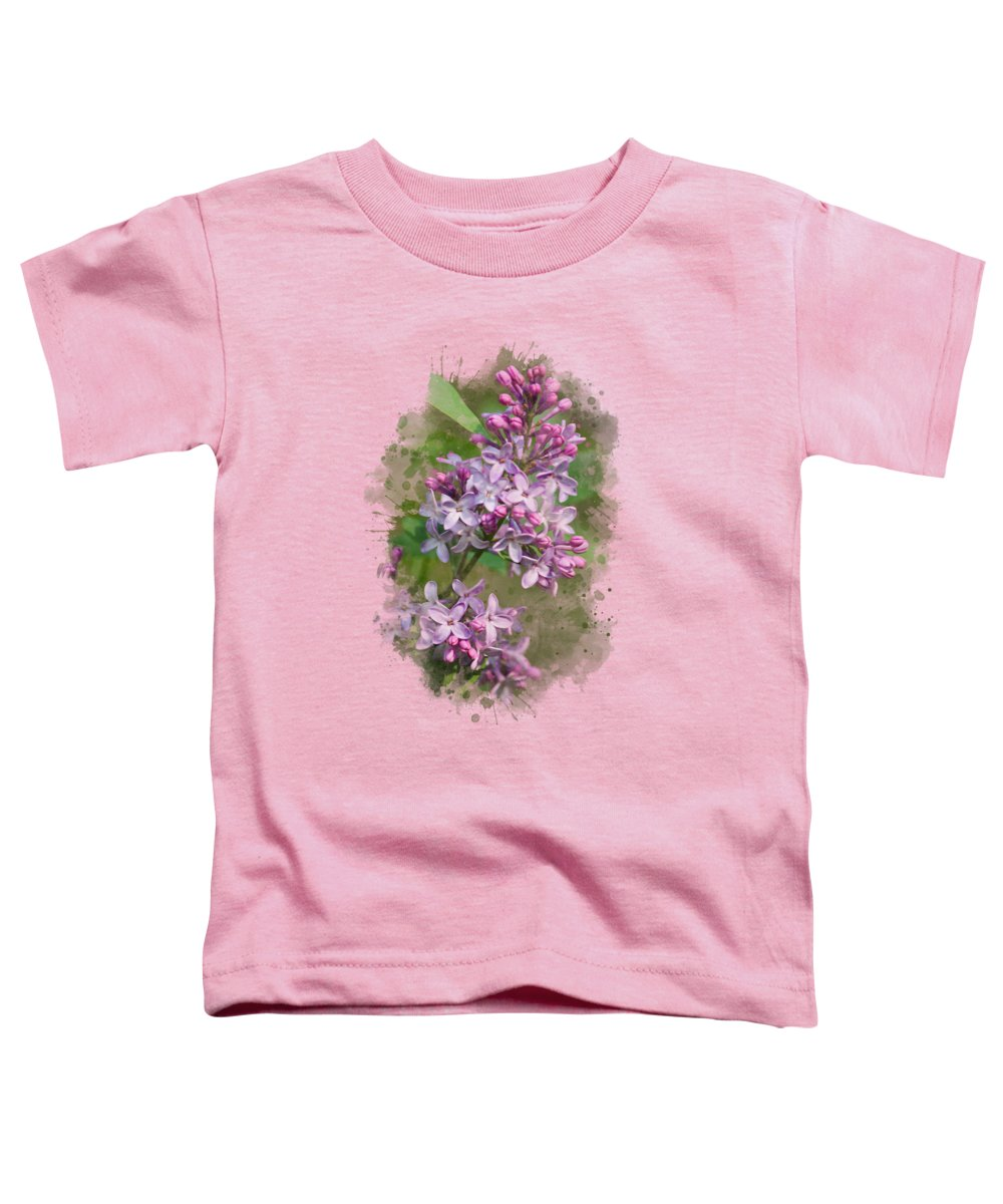 Lilac Toddler T-Shirt featuring the mixed media Lilac Watercolor Art by Christina Rollo