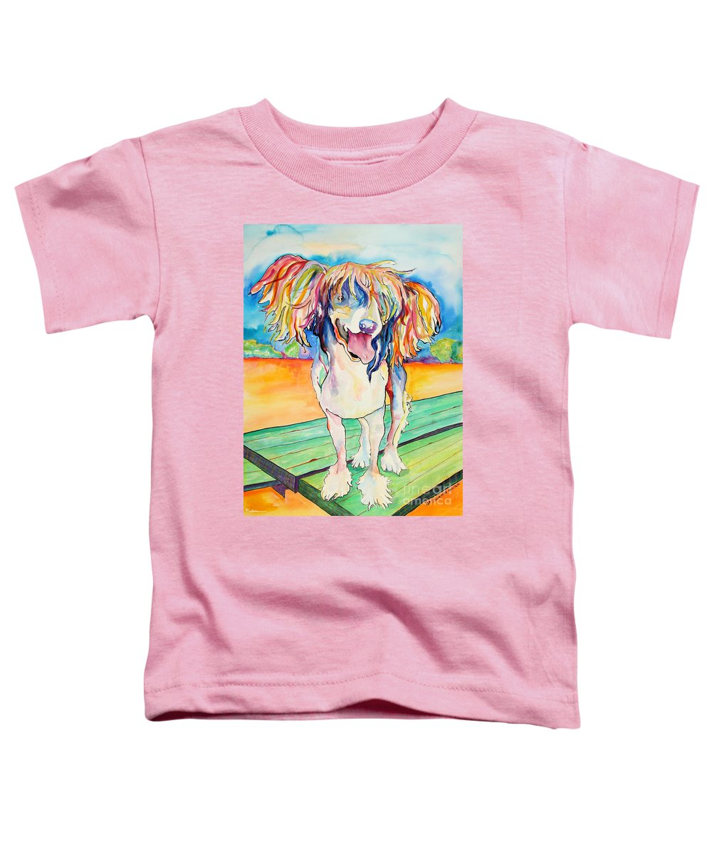 Chinese Crested Toddler T-Shirt featuring the painting Mango Salsa by Pat Saunders-White