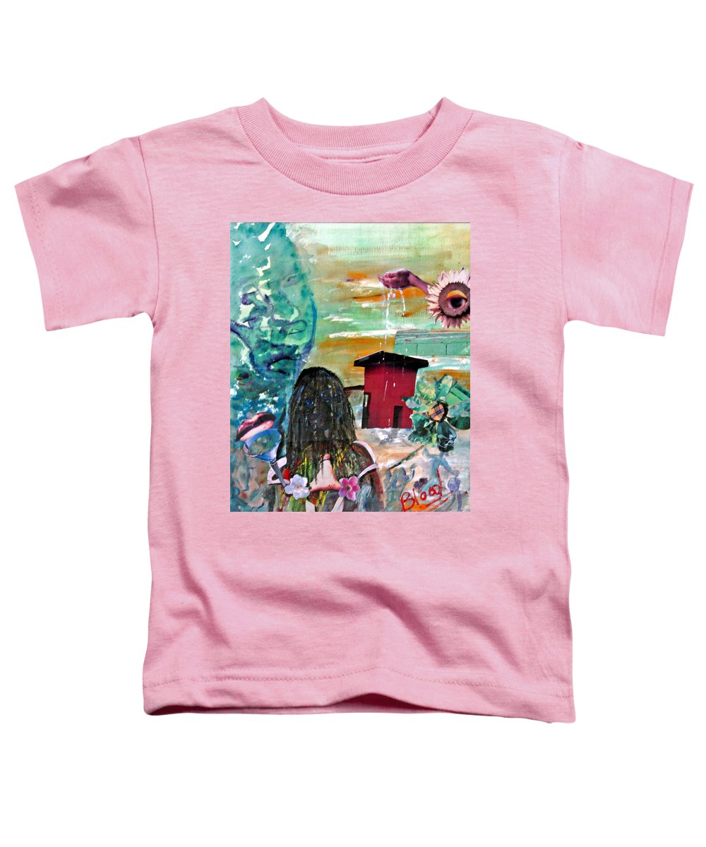 Water Toddler T-Shirt featuring the painting Masks Of Life by Peggy Blood