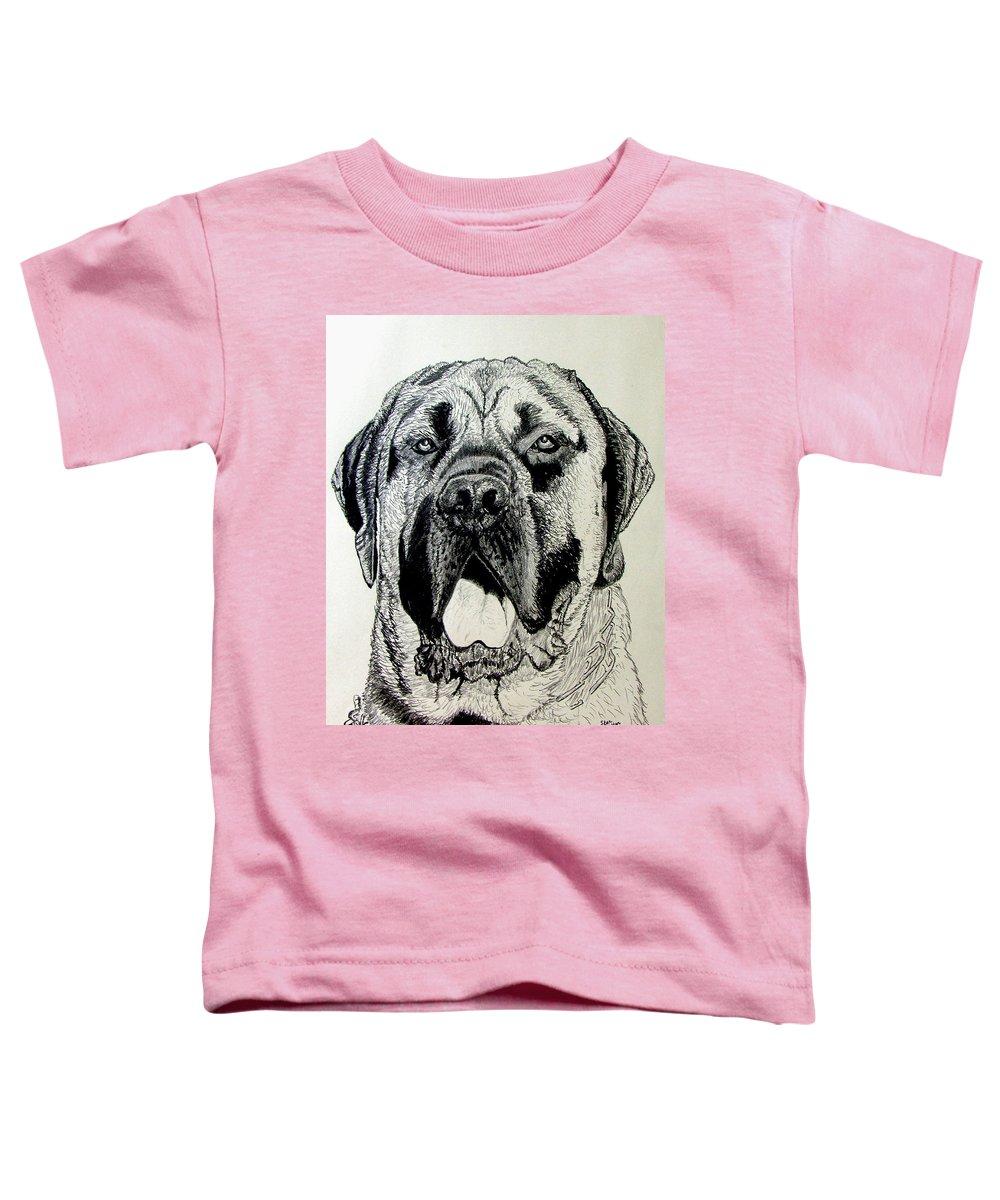 Mastiff Toddler T-Shirt featuring the drawing Mastiff by Stan Hamilton