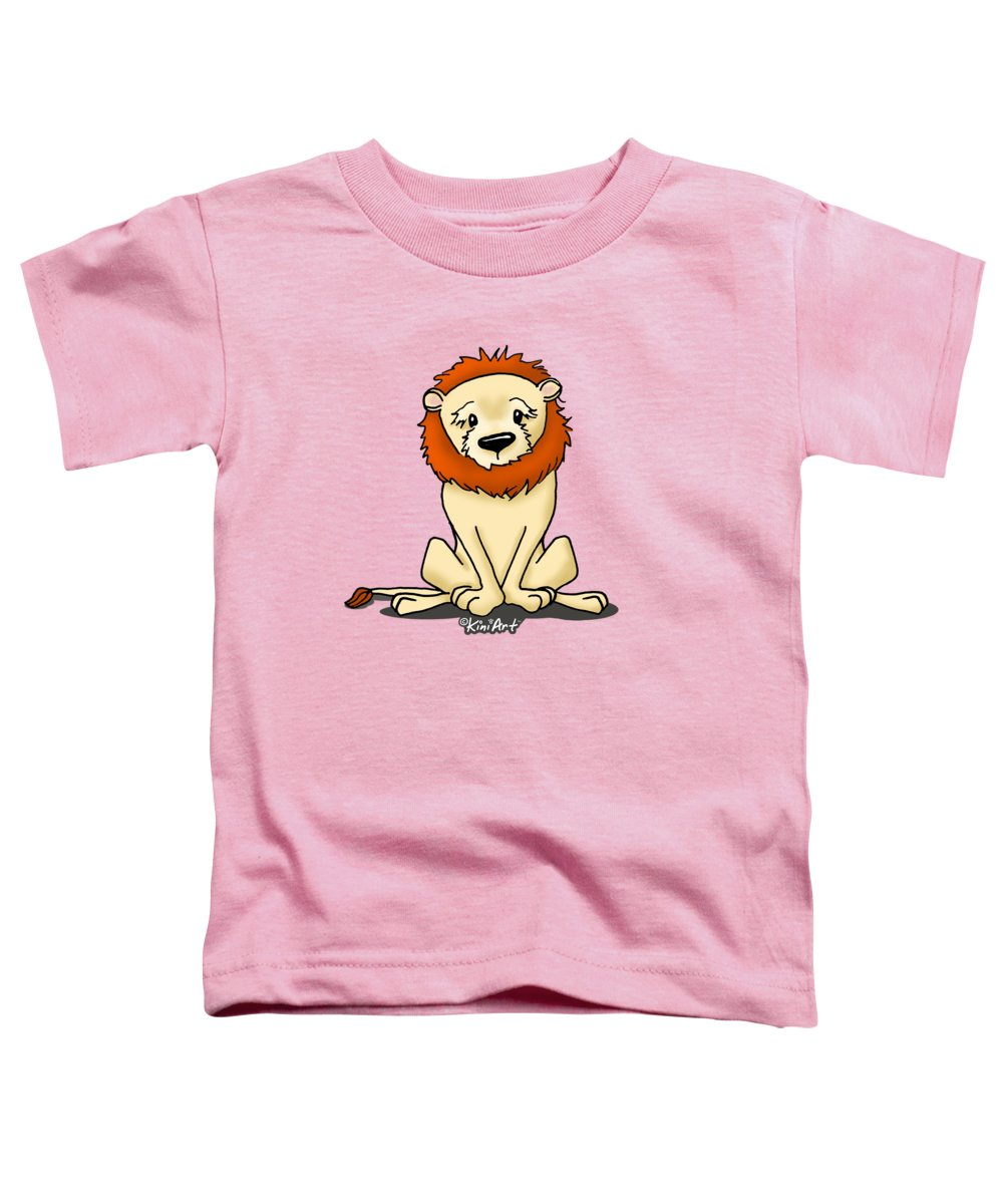 Lion Toddler T-Shirt featuring the mixed media Lion Peaceful Reflection by Kim Niles