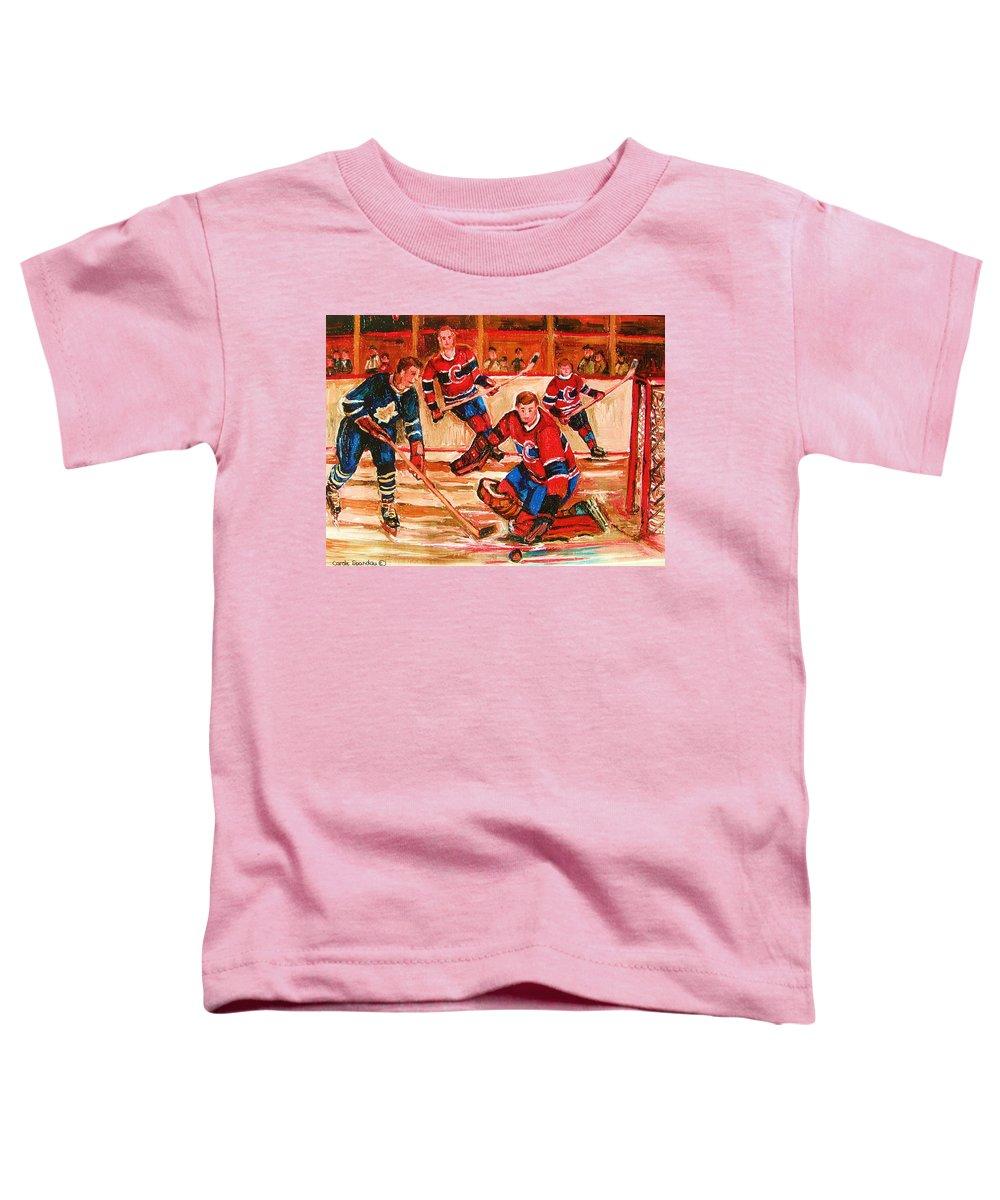 Montreal Forum Hockey Toddler T-Shirt featuring the painting Montreal Forum Hockey Game by Carole Spandau