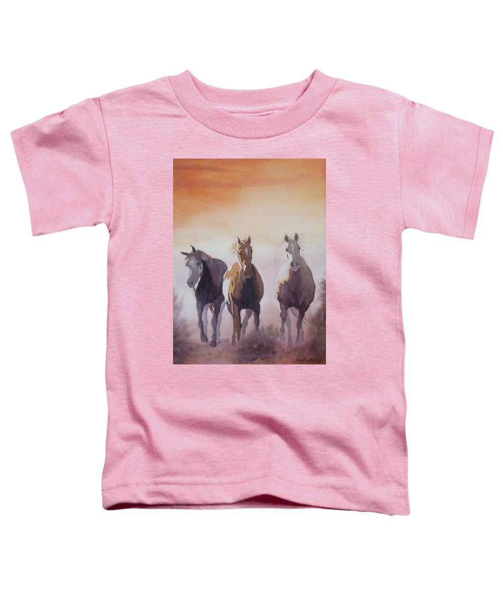 Horse Toddler T-Shirt featuring the painting Mustangs Out Of The Fire by Ally Benbrook