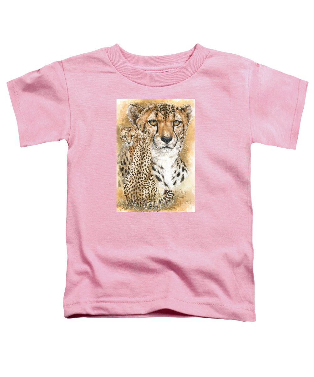 Cheetah Toddler T-Shirt featuring the mixed media Nimble by Barbara Keith