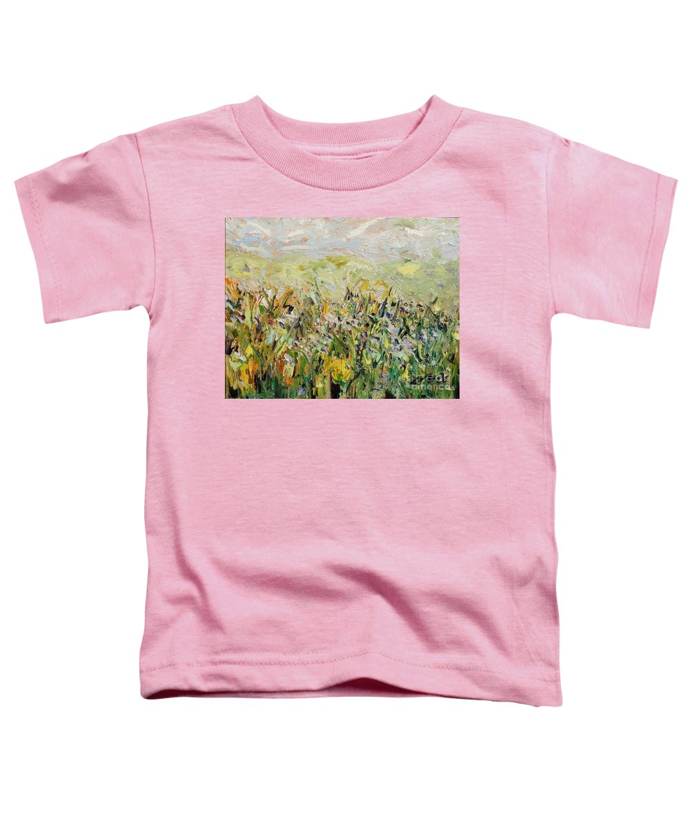 Field Paintings Toddler T-Shirt featuring the painting Nose Hill by Seon-Jeong Kim