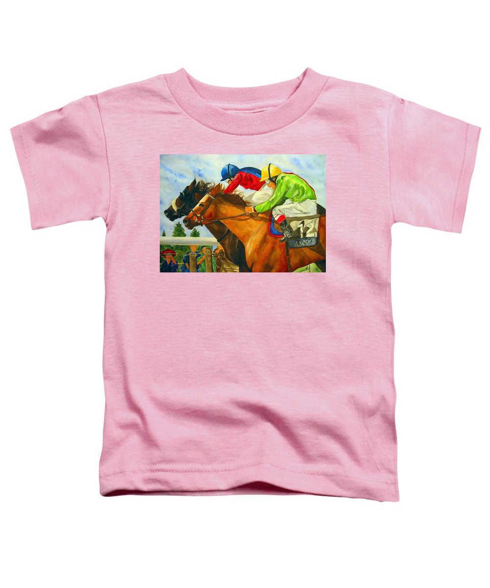 Horse Toddler T-Shirt featuring the painting Nose To Nose by Jean Blackmer
