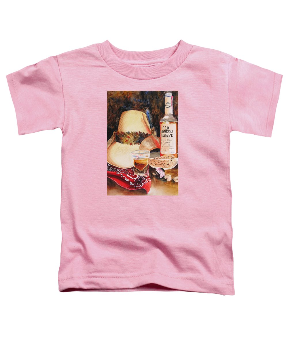 Whiskey Toddler T-Shirt featuring the painting Old Montana Red Eye by Karen Stark