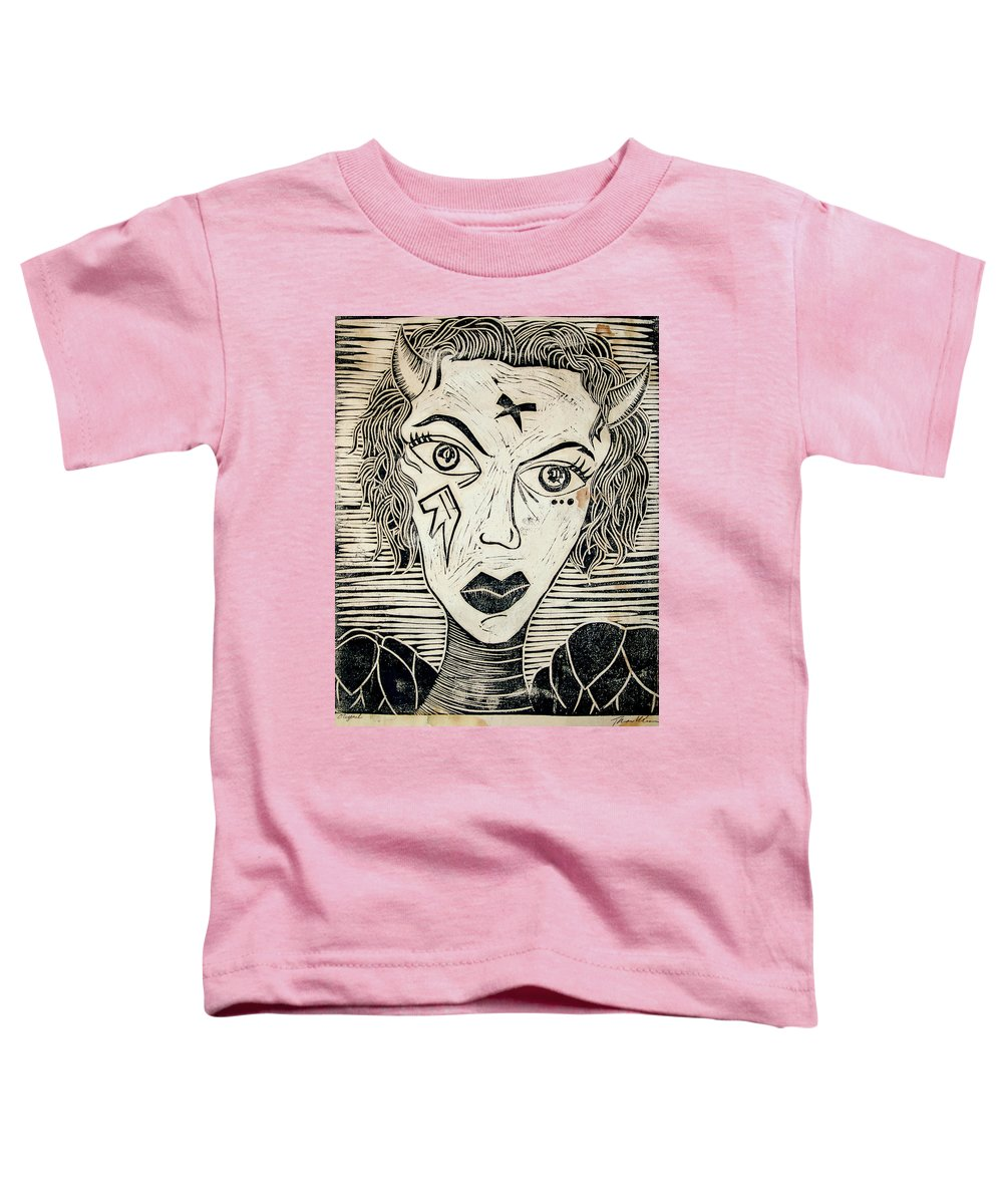 Block Print Toddler T-Shirt featuring the print Original Devil Block Print by Thomas Valentine