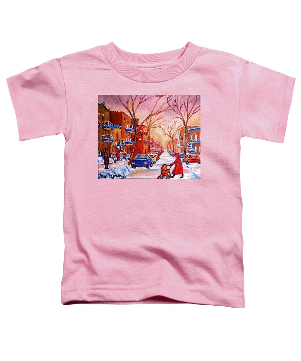 Montreal Toddler T-Shirt featuring the painting Out For A Walk With Mom by Carole Spandau
