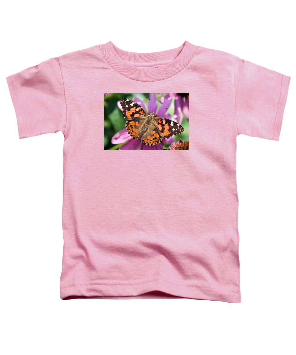 Painted Lady Toddler T-Shirt featuring the photograph Painted Lady Butterfly by Margie Wildblood