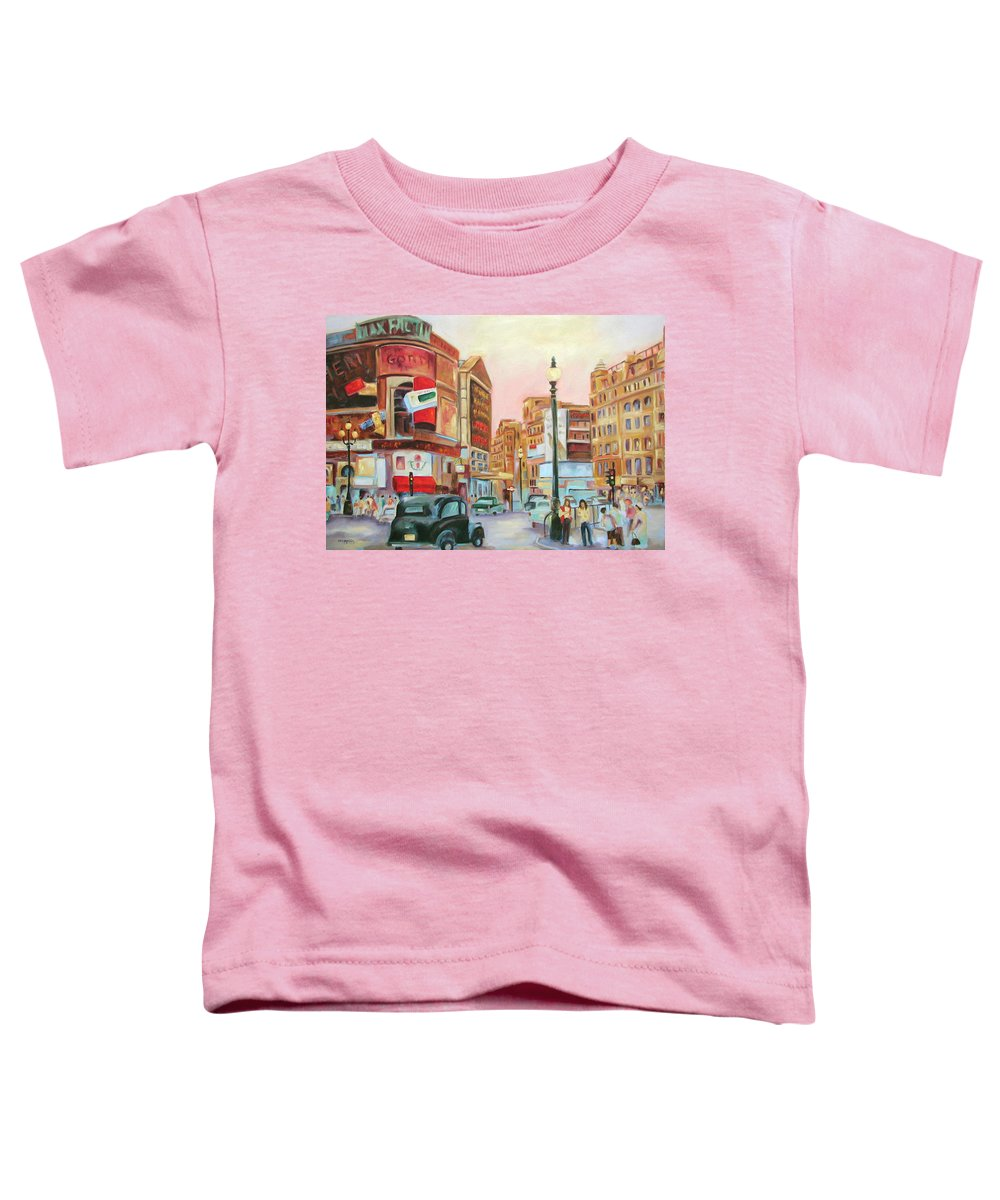 Cityscape Toddler T-Shirt featuring the painting Picadilly by Ginger Concepcion