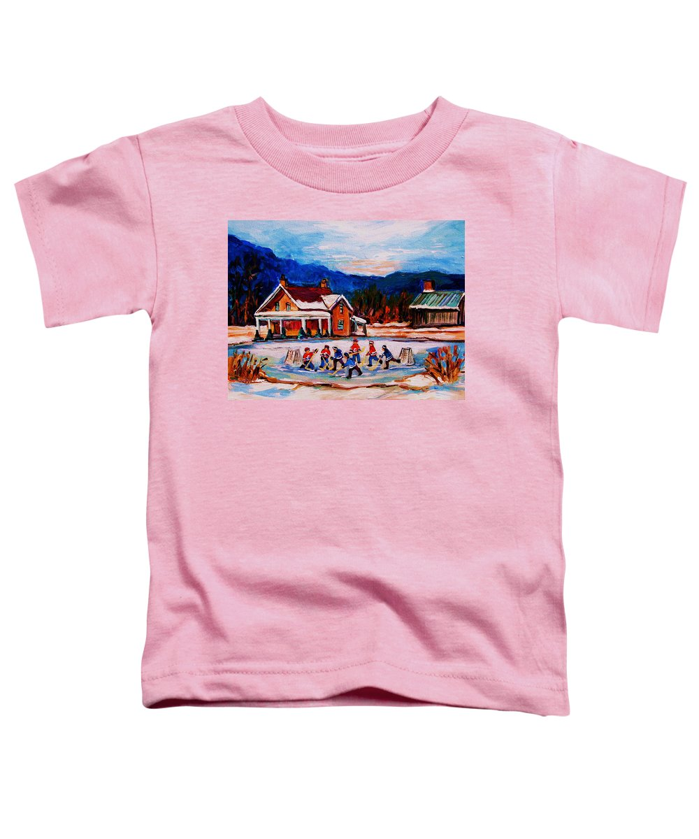 Hockey Toddler T-Shirt featuring the painting Pond Hockey by Carole Spandau