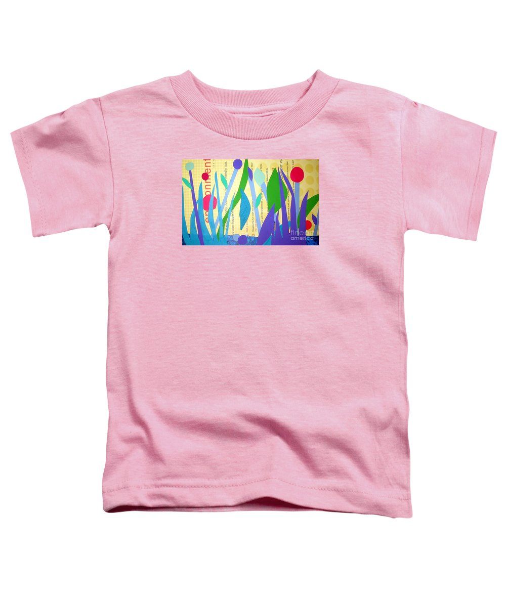 Landscape Toddler T-Shirt featuring the mixed media Pond Life by Debra Bretton Robinson
