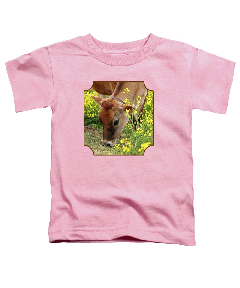 Jersey Cow Toddler T-Shirt featuring the photograph Pretty Jersey Cow - Vertical by Gill Billington