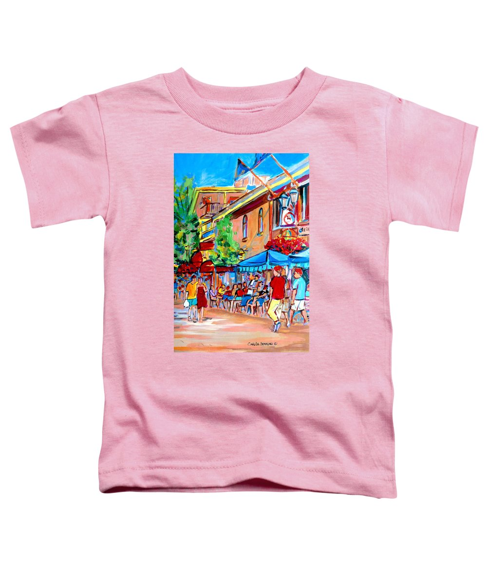 Cafes Toddler T-Shirt featuring the painting Prince Arthur Street Summer by Carole Spandau