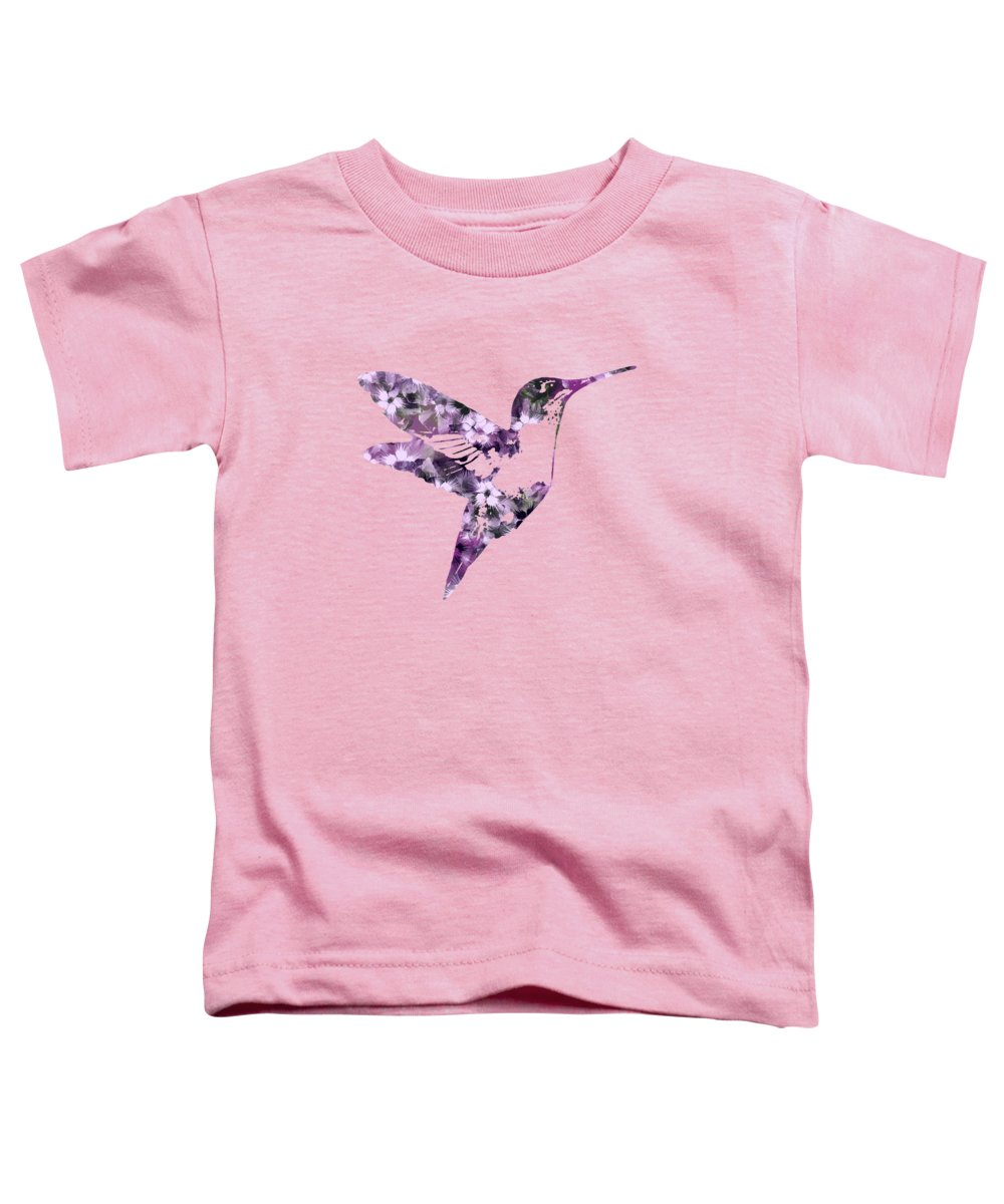 Bird Toddler T-Shirt featuring the mixed media Purple Floral Hummingbird Art by Christina Rollo