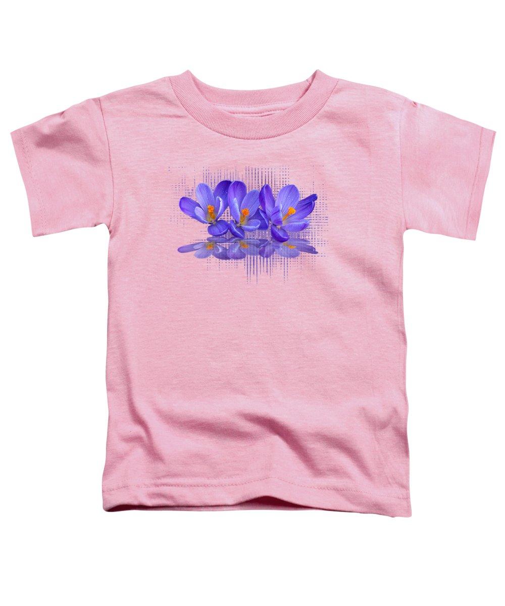 Purple Flower Toddler T-Shirt featuring the photograph Purple Rain Triple by Gill Billington