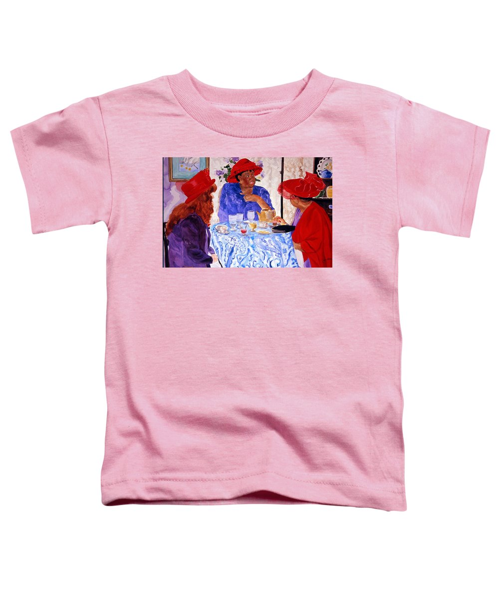 Red Hat Toddler T-Shirt featuring the painting Red Hatters Chatter by Jean Blackmer