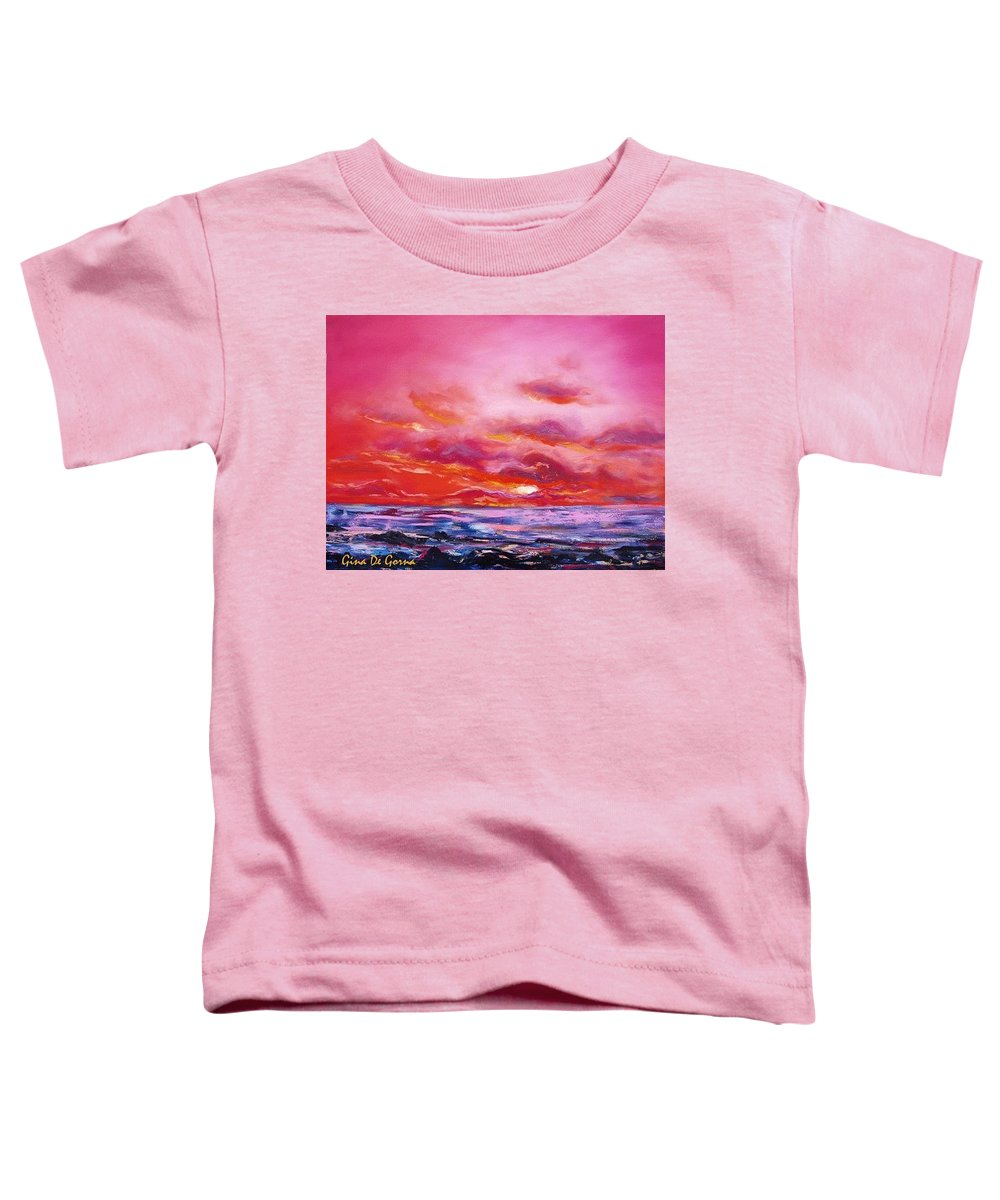 Red Toddler T-Shirt featuring the painting Red Sunset by Gina De Gorna