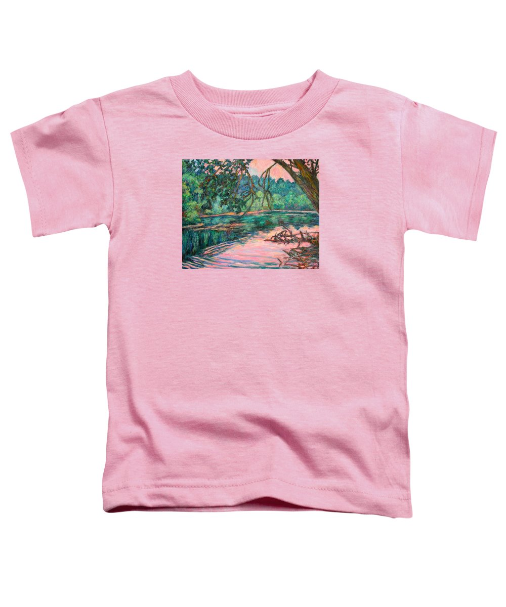 Riverview Park Toddler T-Shirt featuring the painting Riverview At Dusk by Kendall Kessler